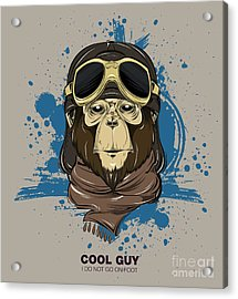 Poster With Portrait Of Monkey Wearing Acrylic Print