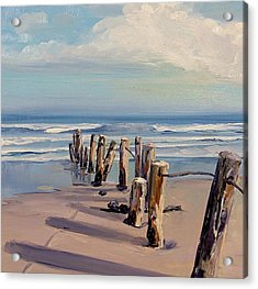 Posts Just Touch The Water Acrylic Print by Dianna Poindexter