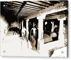 Pot Clay Kneaded With Bare Feet, Pottery Industry Acrylic Print by Litz Collection