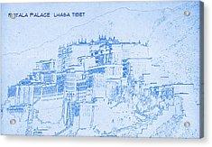 Potala Palace  Lhasa Tibet  - Blueprint Drawing Acrylic Print