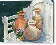 Pots At Andys Garden Acrylic Print by Marsha Elliott