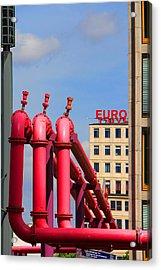 Potsdamer Platz Pink Pipes In Berlin Acrylic Print by Ben and Raisa Gertsberg
