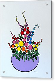 Acrylic Print featuring the painting Potted Blooms - Lavendar by Thomas Gronowski