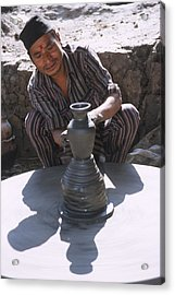 Potter At Work In Bhaktapur Acrylic Print by Richard Berry