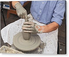 Potter Shaping Clay On A Potter's Wheel  Acrylic Print by Ermess Images