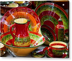 Pottery For Sale At A Market Stall Acrylic Print by Panoramic Images