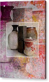 Pottery With Abstract Acrylic Print