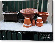 Acrylic Print featuring the photograph Potting Bench In Snow 11 by Vinnie Oakes