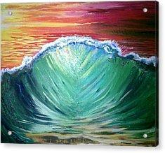Pounding Shorebreak Acrylic Print by Joe Fussner