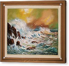 Acrylic Print featuring the painting Pounding Surf by Al Brown
