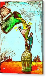 Pouring Liquid Gold Into Bottle Acrylic Print by Vasily Kafanov