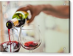 Pouring Red Wine In Glasses Acrylic Print by Instants