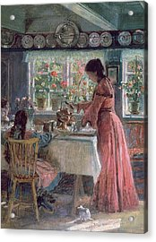 Pouring The Morning Coffee Acrylic Print by Laurits Regner Tuxen