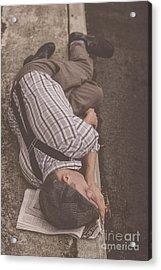 Poverty Stricken Newspaper Boy Acrylic Print