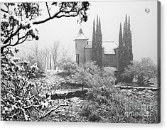 Powderbox Church With Snow In Jerome Arizona Acrylic Print