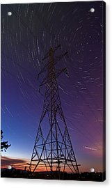 Power Line And Star Trails Acrylic Print