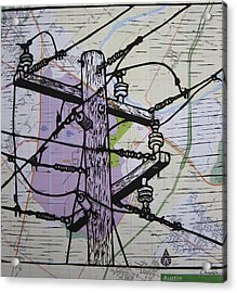 Power Lines On Map Acrylic Print by William Cauthern