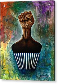 Power To The Afro Pick Acrylic Print by Ka-Son Reeves