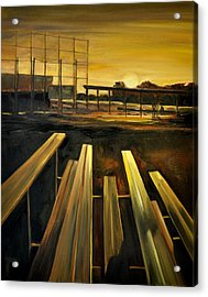 Practice Fields Acrylic Print by Lindsay Frost
