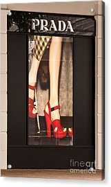 Prada Red Shoes Acrylic Print