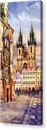 Prague Afternoon Astronomic Clock And Church Acrylic Print by Dmitry Koptevskiy