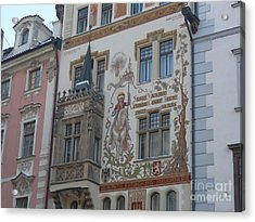 Acrylic Print featuring the photograph Prague Art Deco Facade by Deborah Smolinske