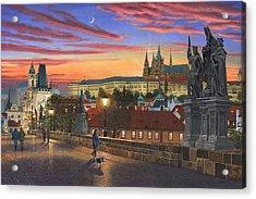 Prague At Dusk Acrylic Print by Richard Harpum