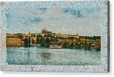 Prague Castle Over The River Acrylic Print by Dana Hermanova