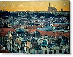 Prague Castle Sunset Acrylic Print by Joan Carroll