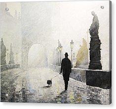 Prague Charles Bridge Morning Walk 01 Acrylic Print by Yuriy Shevchuk