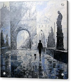 Prague Charles Bridge Morning Walk Acrylic Print by Yuriy Shevchuk