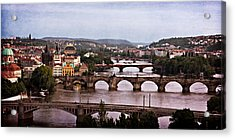 Prague Cityscape - Texture Acrylic Print by Barry O Carroll