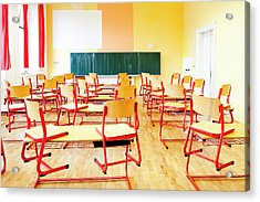 Prague - Empty Classroom At State Acrylic Print by Panoramic Images
