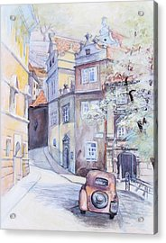 Acrylic Print featuring the painting Prague Golden Well Lane by Marina Gnetetsky