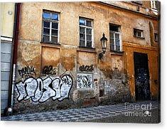 Prague Graffiti Scene Acrylic Print by John Rizzuto