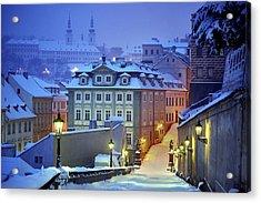 Prague In White Acrylic Print by Martin Froyda