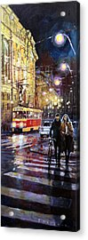 Prague Masarykovo Nabrezi Evening Walk Acrylic Print by Yuriy Shevchuk