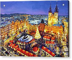 Prague Old Town Square Christmas Market 2014 Acrylic Print by Yuriy Shevchuk