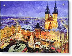 Prague Old Town Square Christmas Market Acrylic Print by Yuriy Shevchuk