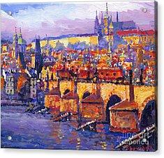 Prague Panorama Charles Bridge 06 Acrylic Print by Yuriy Shevchuk