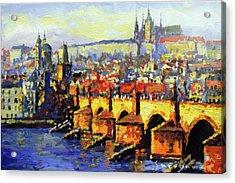 Prague Panorama Charles Bridge Acrylic Print