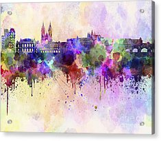 Prague Skyline In Watercolor Background Acrylic Print