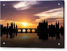 Prague Sunset Skyline  Acrylic Print by Aged Pixel