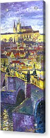 Prague Violet Panorama Night Light Charles Bridge Acrylic Print by Yuriy Shevchuk