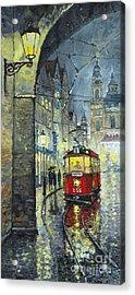 Praha Red Tram Mostecka Str  Acrylic Print by Yuriy  Shevchuk