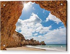 Praia Dos Tres Irmaos Beach, Algarve Acrylic Print by Peter Adams