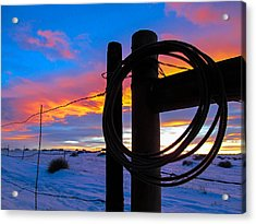 Prairie Fence Sunset Acrylic Print