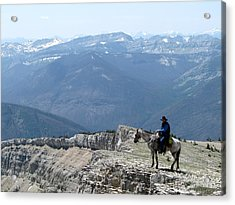 Prairie Reef View With Horse And Rider Acrylic Print