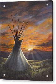 Acrylic Print featuring the painting Prairie Sunset by Kim Lockman