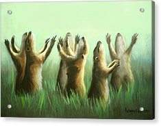 Praising Prairie Dogs Acrylic Print by Anthony Falbo